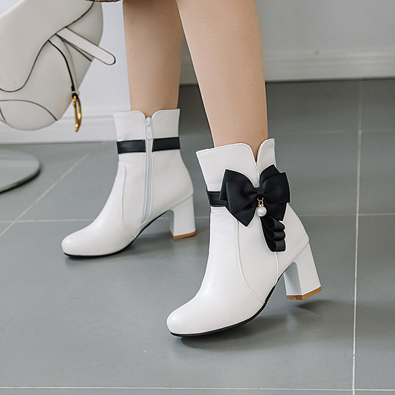 Party style comfortable round toe ankle boots fashion color matching bow zipper white pink black thick high heel riding boots