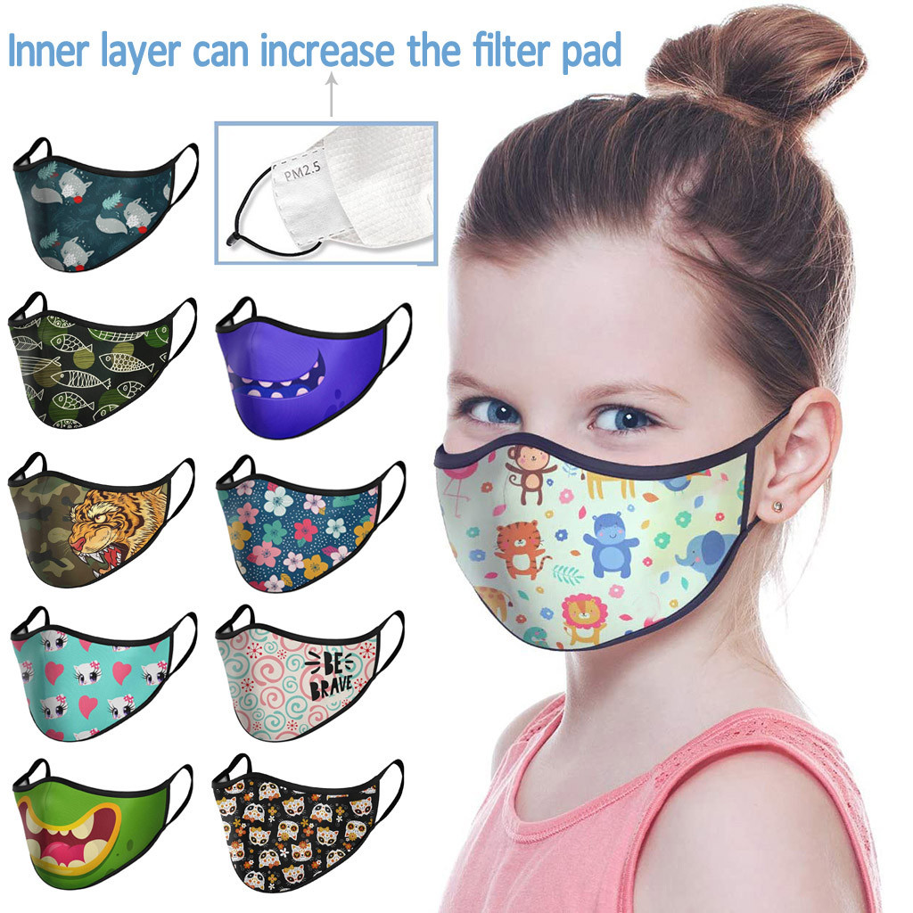 In Stock Children Kids Face Covering Reusable Washable Breathable Soft FaceCover Mascarillas Mascara Mondkapje Camping Maska