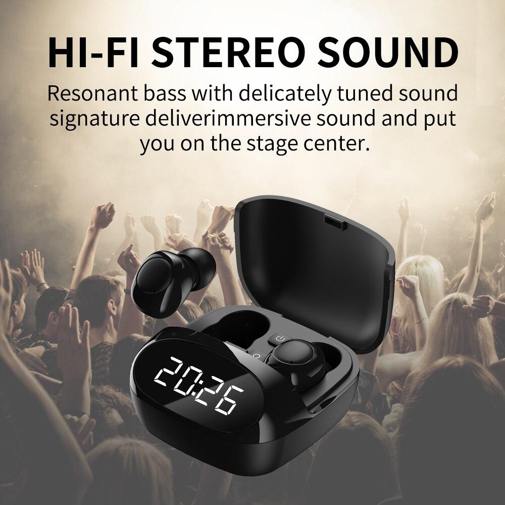 Mini TWS Bluetooth V5.0Clock Earphones Wireless Headphones Earphones 9D Hifi Sports Waterproof Wireless Earphone Headset Earbuds