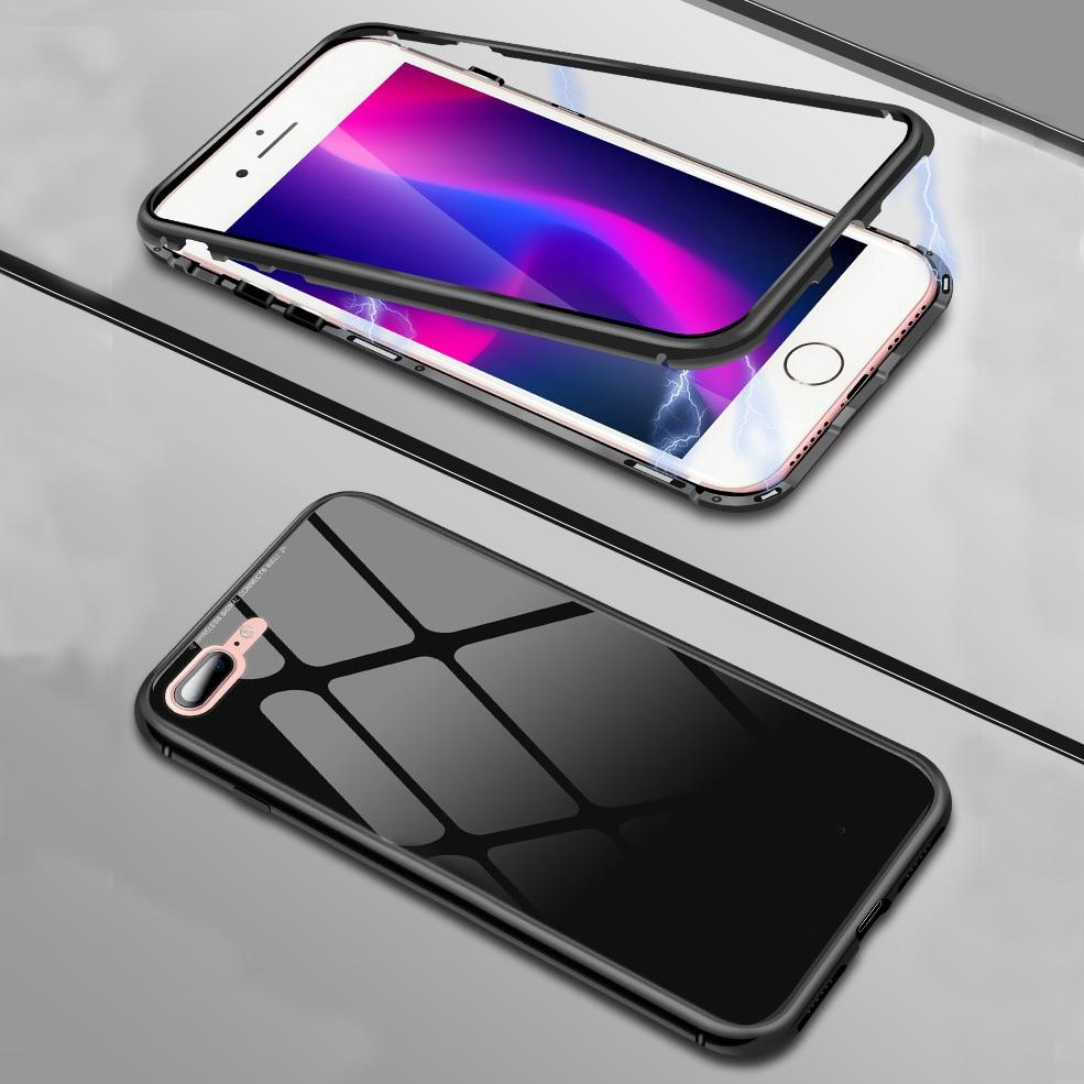 Funda de Metal de adsorción magnética para iPhone, cubierta trasera de vidrio templado para iPhone 11 Pro XS Max X XR 7 8 7 8 6s Plus