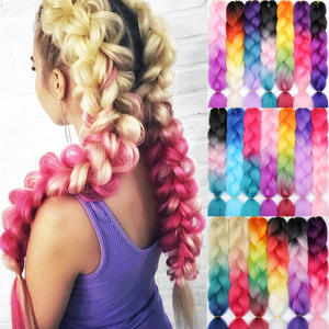 Braids Hair Synthetic-Hair-Extensions Miss-Wig Ombre Crochet Pink Blue Red Women