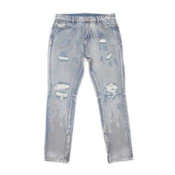 цена на UNCLEDONJM Knee Holes Jeans Men's Zip-up Slim-Fit Trousers ripped jeans for men streetwear Desstroy jeans men RMB-20S168
