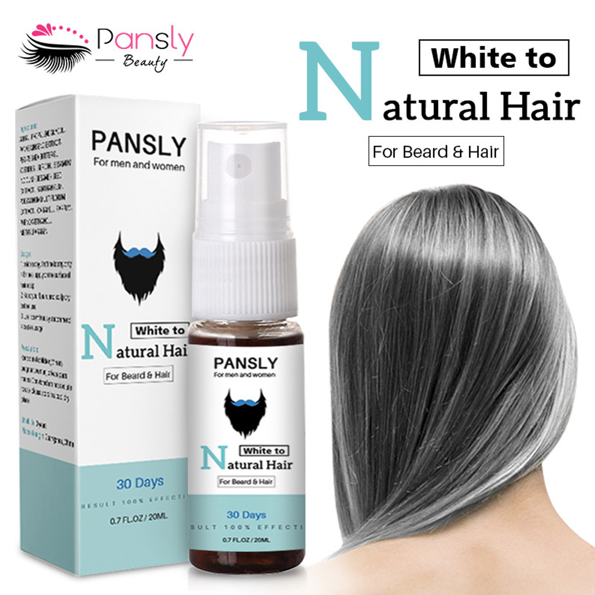 2019 New Pansly 20ml Herbal Cure White Hair Care Unisex Tonic Restore White Beard & Hair To Natural Hair Color Spray Dyeing