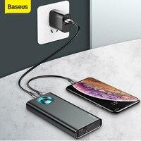 Baseus 전원 은행 20000mAh 유형 C PD PowerBank 빠른 충전 3.0 USB PoverBank 외부 배터리 샤오미 IP