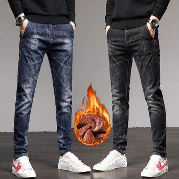 2020 New Stretch Slim Fit Pants Men's Winter Plush Thick Warm Jeans 1