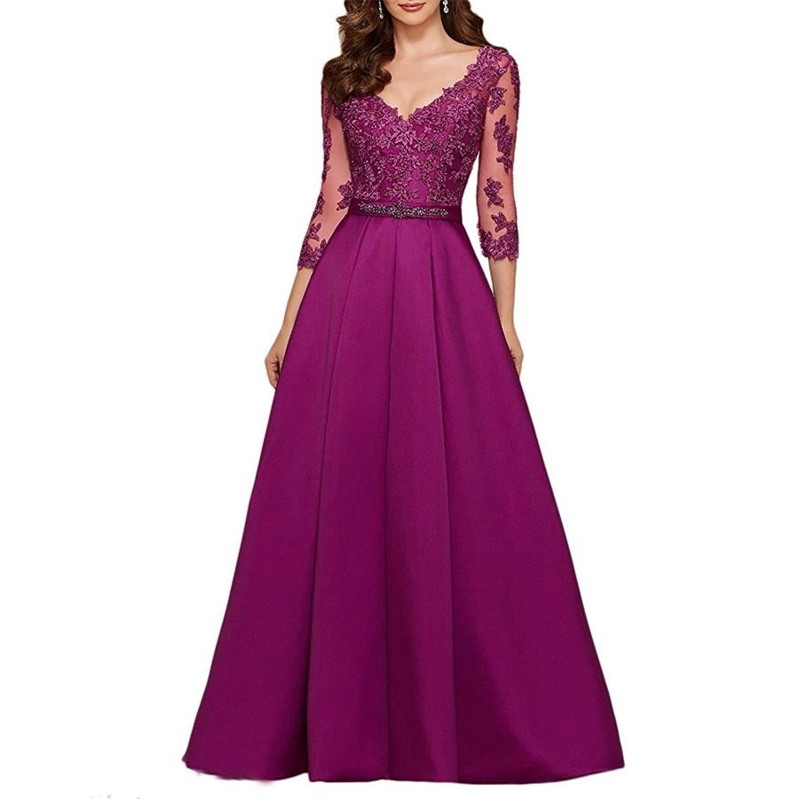 New 3/4 Long Sleeves Evening Dresses 2019 Elegant Lace Appliqued Beaded Formal Gowns Illusion V-Neck Satin Prom Dress