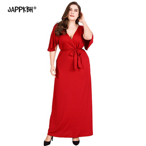 Bandage Summer Dress Women 2020 Elegant Sexy Deep V Neck Long Party Dress Casual Plus Size Slim Ruffles Ball Gown Maxi Dresses(China)