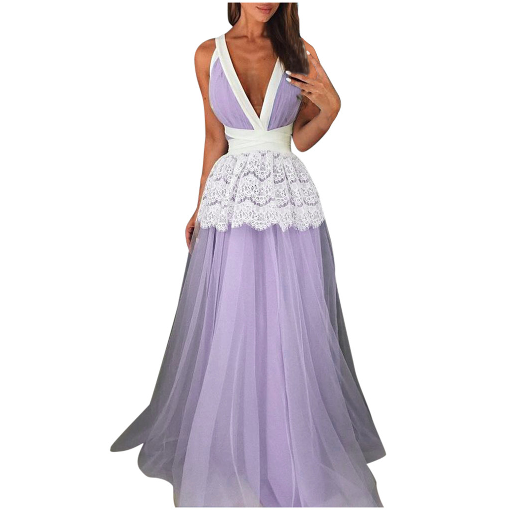 2020 sukienki ropa mujer vestidos dress women Patchwork Lace Draped Deep Backless Long plus size dresses robe hiver femme
