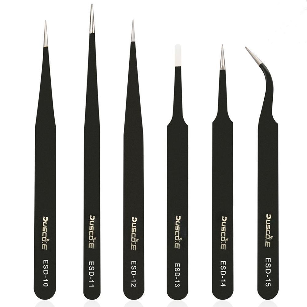 Dusco.E 6pcs BGA Precision ESD Tweezers Set pinzas antiestáticas de acero inoxidable Reparación de herramientas Estación de soldadura Soldadura Asistente
