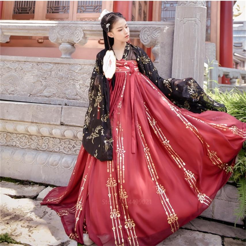 Ancient Princess Fancy Traditional Formal Dress Hanfu For Women Girls Retro Folk Dance Golden Crane Printed Top Red Skirt Set