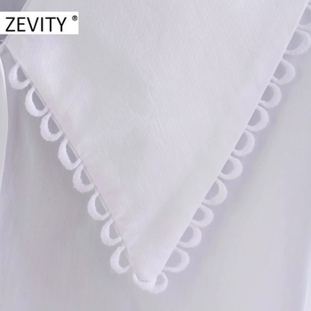 ZEVITY women sweet peter pan collar lace stitching casual poplin blouse shirts women puff sleeve white chemise chic tops LS7201 4
