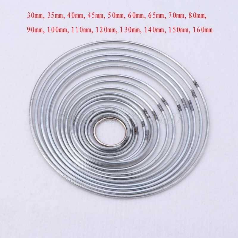 30-160mm 17 Size Round Metal Hoop Silver Dreamcatcher Ring Wall Hangings Macrame Crafts Home DIY Decor Dream Catcher Accessory
