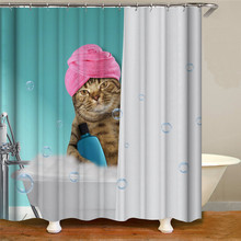 цена на Cute cat print shower curtain polyester waterproof cloth shower curtain shower curtain for home decoration
