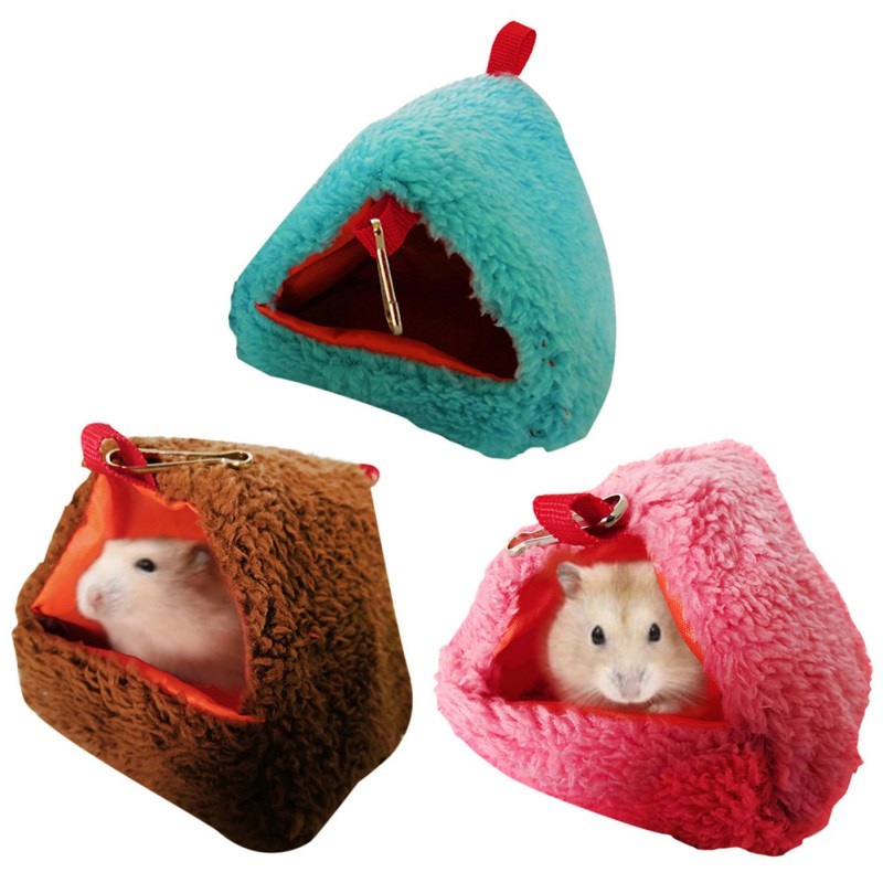 Mini House Small Animal Hammock Triangular Shaped Warm Hanging Nest House For Hamster Parrot