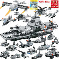 472Pcs INVINCIBLE BATTLES Warship DIY Bricks NAVY Military ARMY Bomber Soldiers Building Blocks Sets LegoINGLs Toys For Children