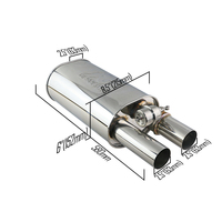 JZZ 2.5 Change Sound Racing Valve Silencer Oval Car Exhaust Muffler With double outlet