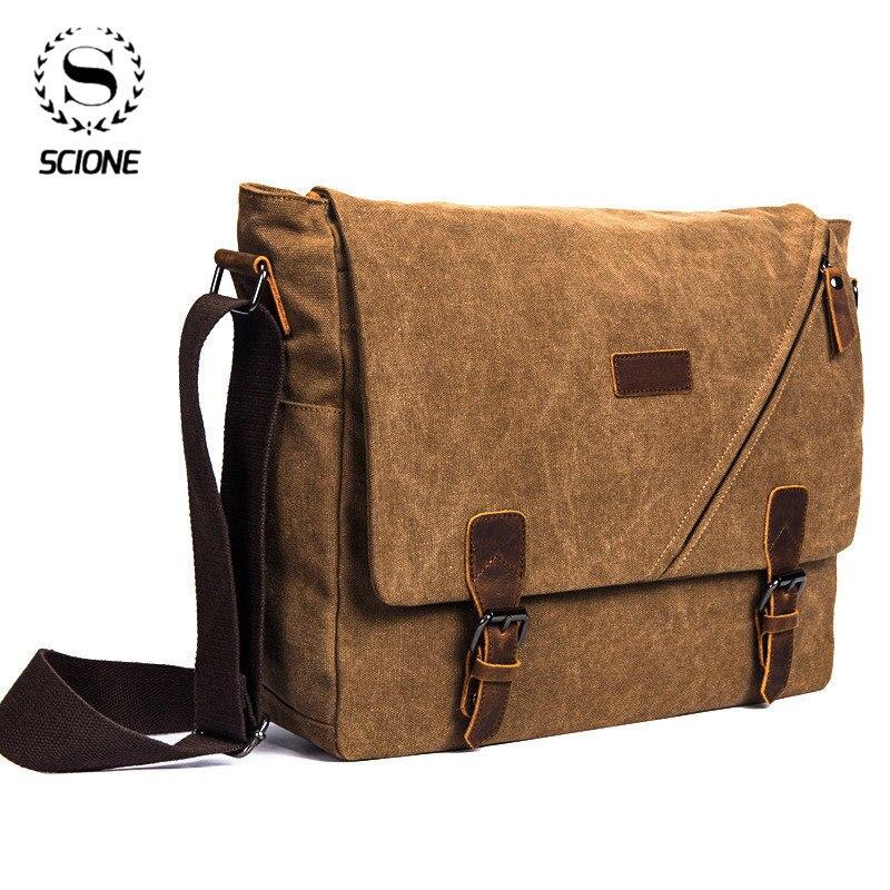 Scione retro lona multifunction messenger bolsa de ombro sólida maletas mala bolso do cartão para as mulheres dos homens ao ar livre saco de escritório