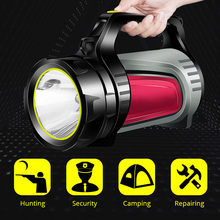 цена на 10W Super Bright Outdoor Handheld Portable USB Rechargeable Flashlight Torch Searchlight Multi-function Long Shots Lamp NEW