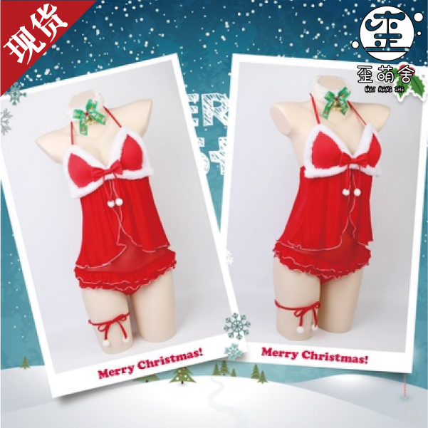 New Year/Christmas Underwear Dress Outfit Cosplay Costumes Cute Sexy Red Festival Suit Female Christmas/ Party Show Hot Selling