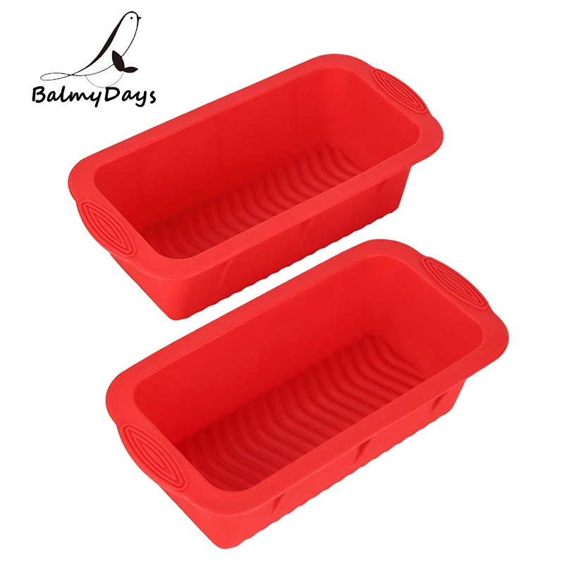 2Pcs Silicone Bread Loaf Pan Set Rectangle Silicon Cake Mold Baking Pan Non-stick Silicone Mold for Cake Meatloaf Baking Tools