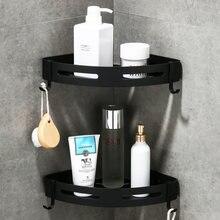 Угловая полка для ванной настенная черная алюминиевая душа держатель