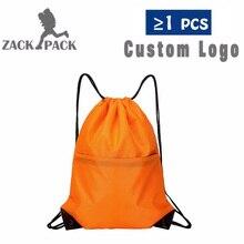 Zackpack нейлоновый рюкзак на шнурке с индивидуальным принтом логотипа, рюкзак для девочек, школьная спортивная водонепроницаемая сумка Mochila DB8