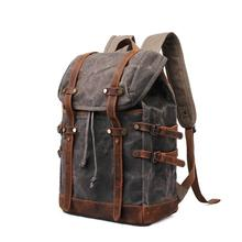 Brand New High Quality Retro Men Wax Canvas School Travel Backpack 2019 Teenager