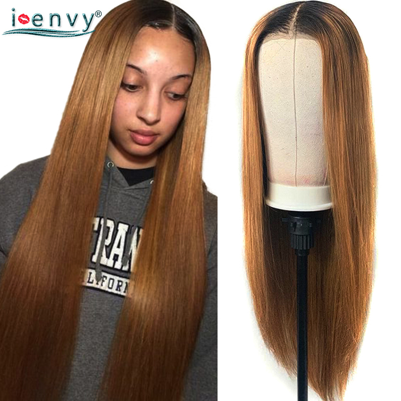 Colored Blonde Straight Lace Front Wigs Pre Plucked Ombre Blonde Brazilian Human Hair 13x4 Lace Closure Wig Baby Hair Non-Remy