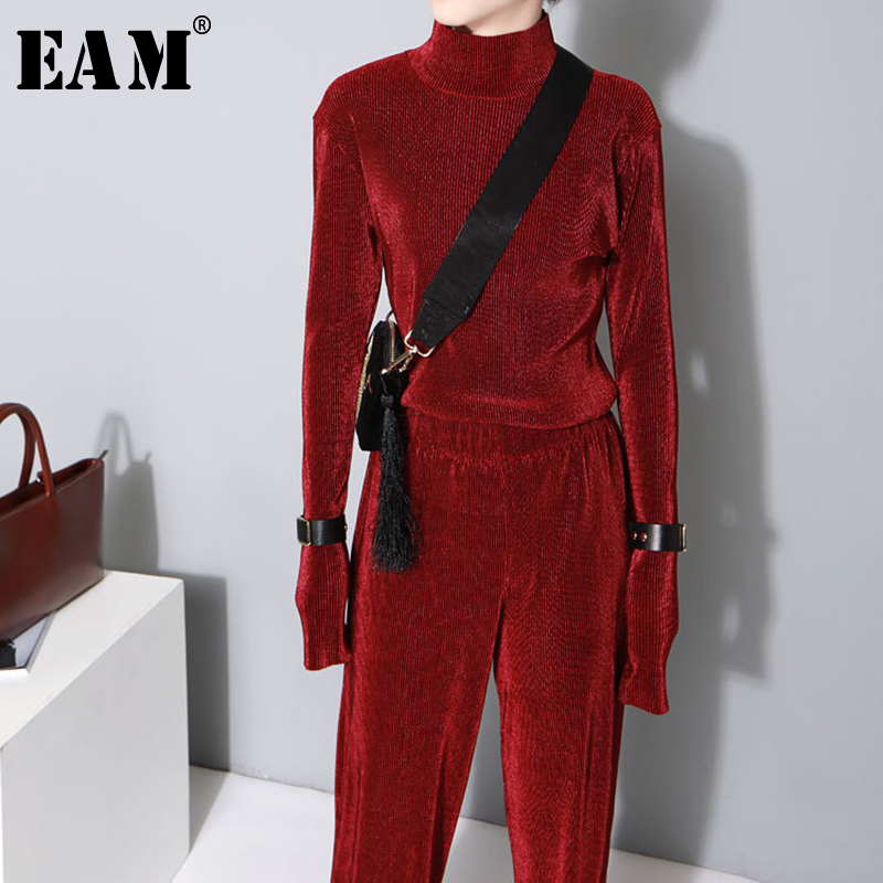[EAM] Women Multicolor  Black Pleated Velvet T-shirt New High Collar Long Sleeve Fashion Tide All-match Spring Autumn 2020 JZ535