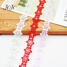 JOJO BOWS 30mm 1y Pearl Diamond Six Petal Flower Lace Ribbon For Craft Clothing Sewing Wedding Decoration Applique Crafts