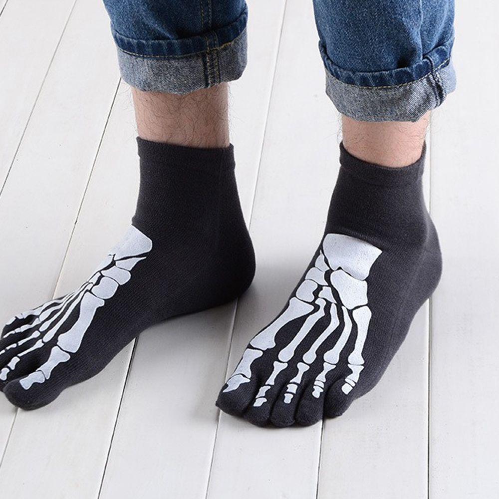 3 Colors Punk Rock Unisex 3D Print Terror Skeleton Toe Socks Hip Hop Scary Skull Five Finger Odd Sox Bone Short Socks
