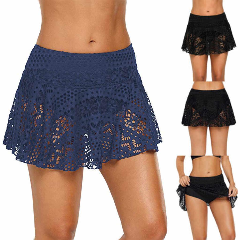 Geplooide Rok Zomer Vrouwen Casual Strand Rok Mini Taille Kant Gehaakte Begrenste Bikini Bottom Badpak Korte Skort Zwemmen Rok