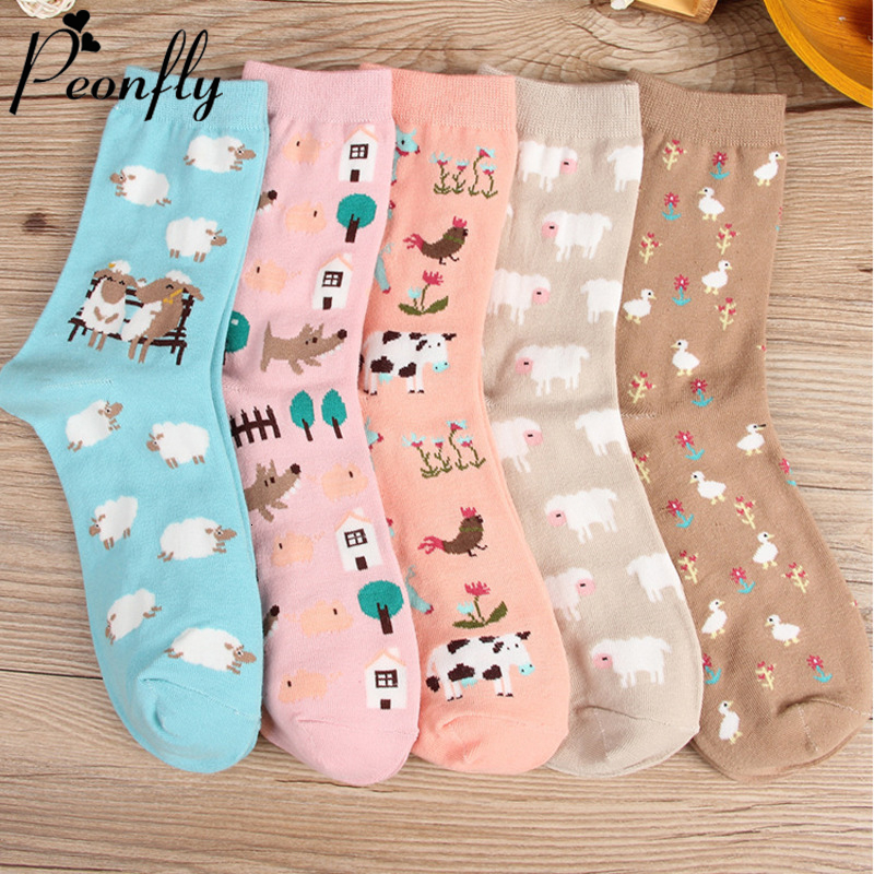 PEONFLY 2019 Autumn Women Socks Cartoon Animal Cute Sheep Cow Socks For Girls Warm Cotton Sock For Ladies Christmas Gifts