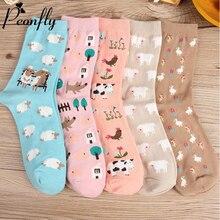 PEONFLY 2019 Autumn Women Socks Cartoon Animal Cute Sheep Co