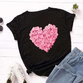 2020 Pink Heart Flower Print Women T-Shirt Couples Lovers Casual White Tops Short Sleeve Women T Shirt Love Heart Print Female flower cluster print slub t shirt