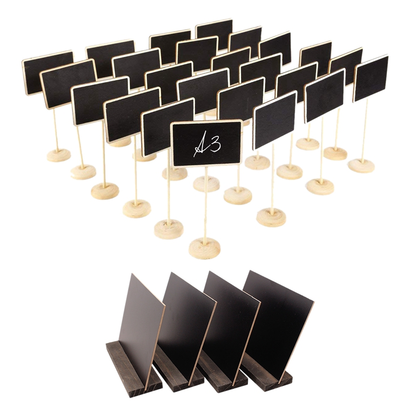 4 Pcs Mini Tabletop Chalkboard Signs With Rustic Style Wood Base Stands, With 3X Chalks & 24 Pcs Mini Blackboard Writable Erasab