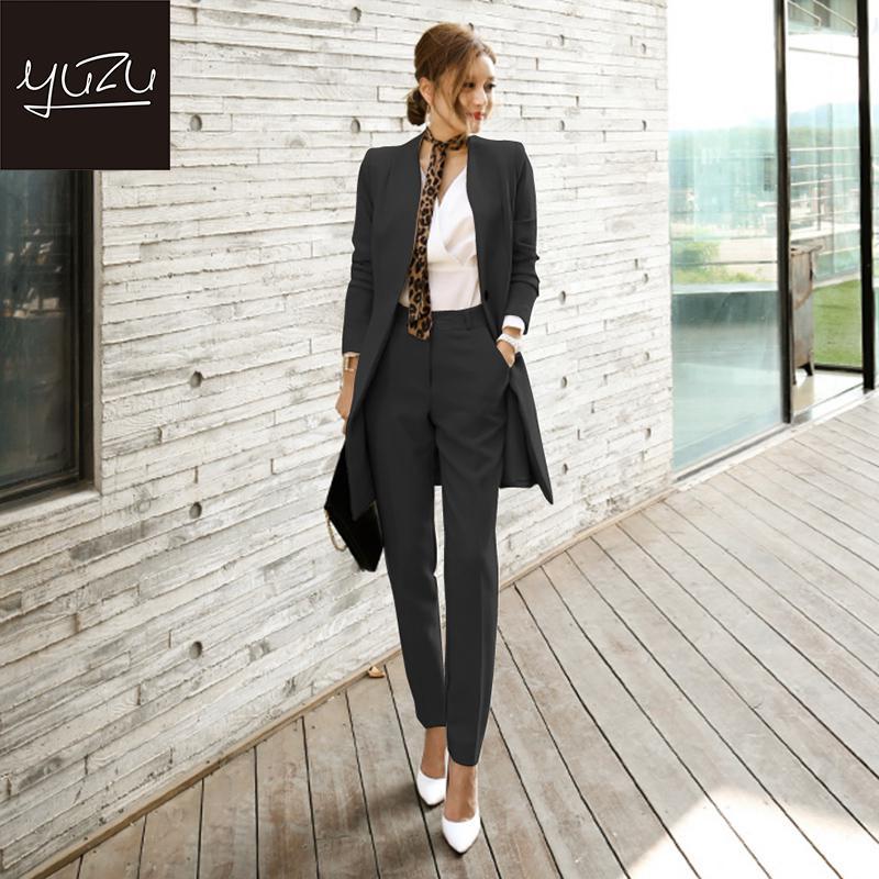Women Suit Winter Long Blazer And Pants Office Fashion Belt Jacket Black Khaki 2 Piece Set Business Formal Sets Leopard Scarf