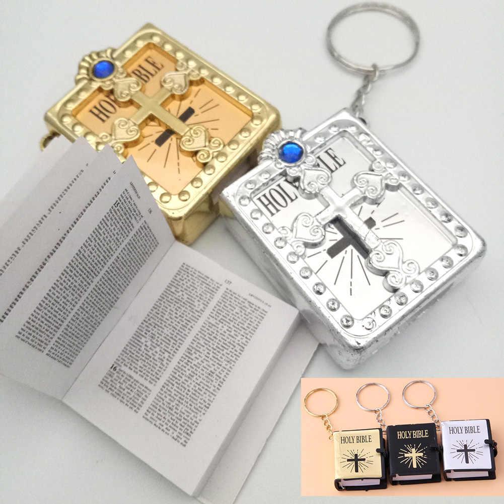 الإنجليزية Mini الكتاب المقدس المفاتيح الدينية المسيحية يسوع الصليب مفتاح سلسلة المرأة الصلاة الله يبارك هدية التذكارات كيرينغ