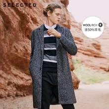 SELECTED Autumn & Winter Men's Clothes Woolen Herringbone-pattern Wool Coat New Long Woolen Jacket S |418427528(China)