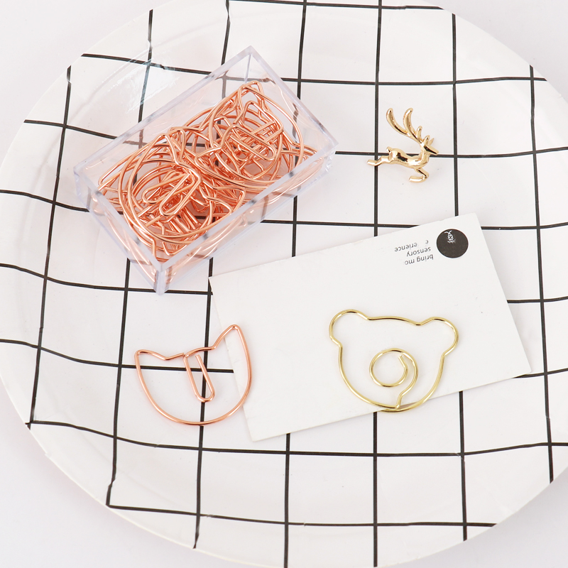 TUTU 20Pcs/lot Rose Gold Cat  Bookmark Bear Paper Clip Metal Material Bookmarks For Book Stationery School Office Supplies H0343