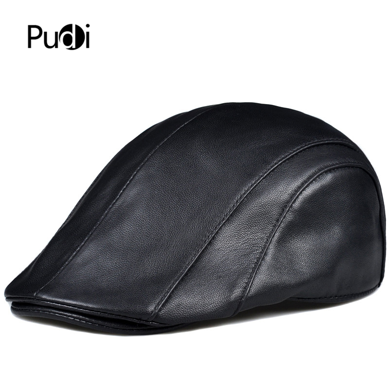 Pudi man real sheep leather cap hat 2019 brand new boy beret golf hunting caps hats black brown HL912
