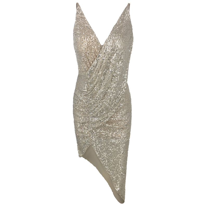 Silver Deep V Neck Strapless High Split Sequined Glitter Dress