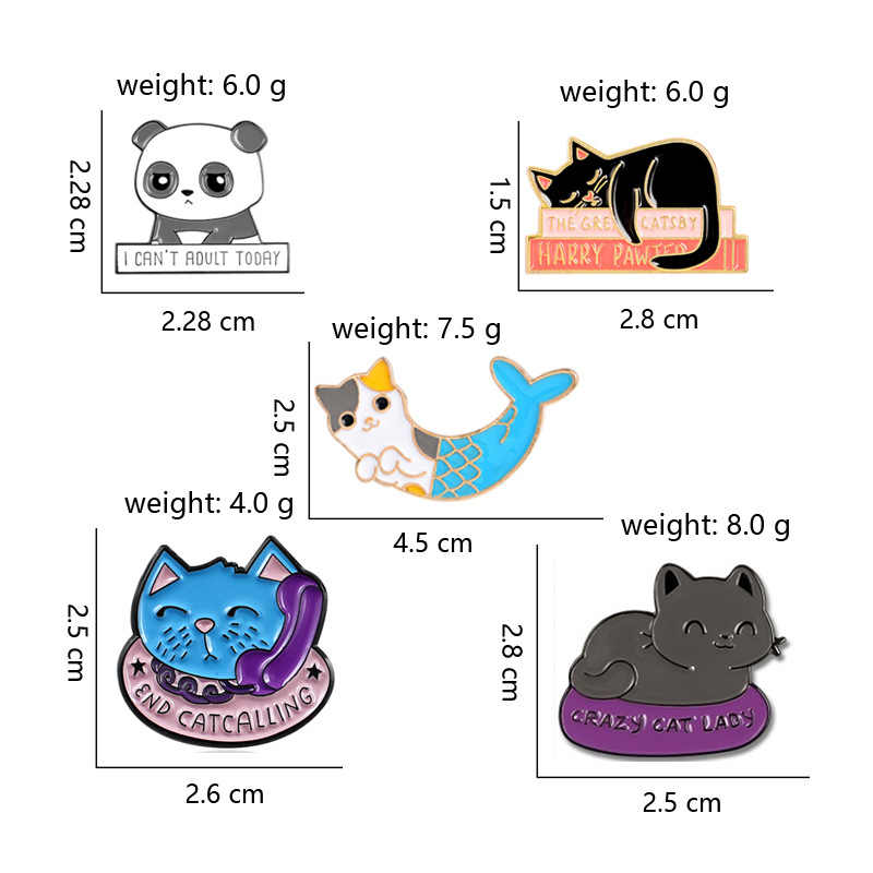 Cartoon Animal Enamel Pin Cute Panda Naughty Cat Brooch Crazy Cat Lapel Pins Funny Badge Jewelry Gift For Kids Friend