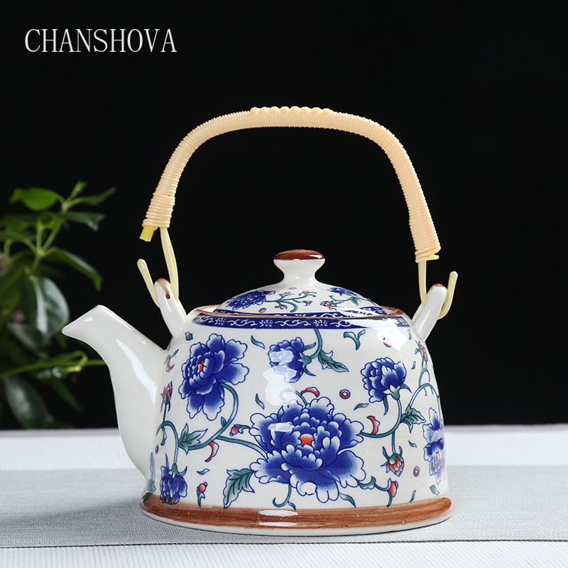 CHANSHOVA China  Porcelain Teapot With Strainer Net High Capacity 500 900ML Traditional Chinese Retro Ceramic Tea Set