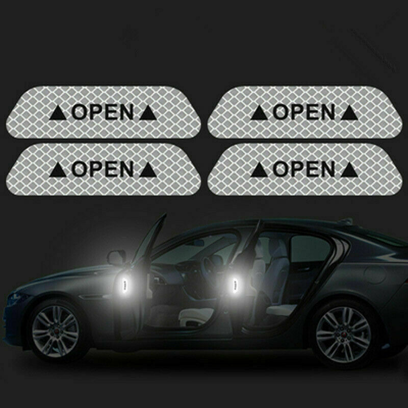 4 Universal Auto Car Door Open Sticker Reflective Tape Safety Warning Decal 5
