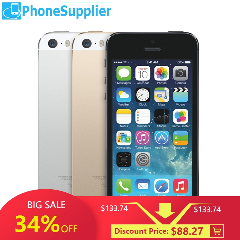 Unlocked APPLE iPhone 5s Smartphone 16GB/32GB/64GB ROM 4.0 inch Touchscreen 8MP Dual Camera WiFi Bluetooth Fingerprint LTE Phone-in Cellphones from Cellphones & Telecommunications
