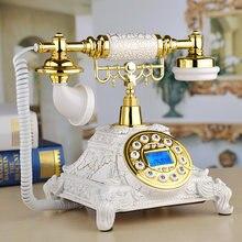 Teléfono fijo Vintage de moda europea, hecho de resina, teléfono fijo de cuatro vías para oficina, casa, Hotel, teléfono fijo