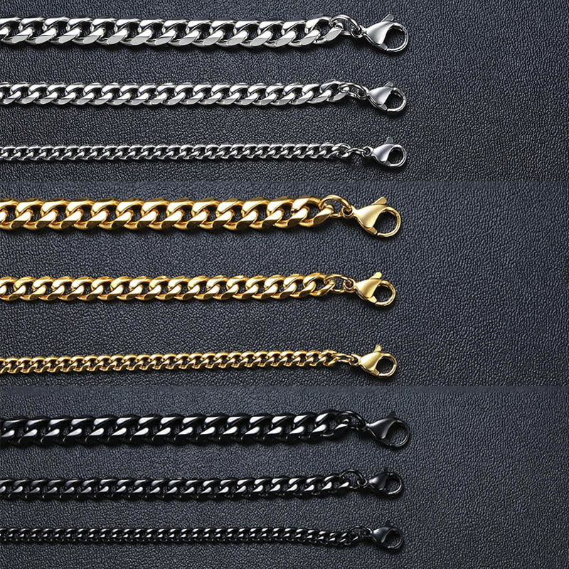 Vnox Men Simple 3-11mm Stainless Steel Cuban Link Chain Necklaces for Male Jewelry Solid Gold Black Tone Gifts Miami Curb Chain