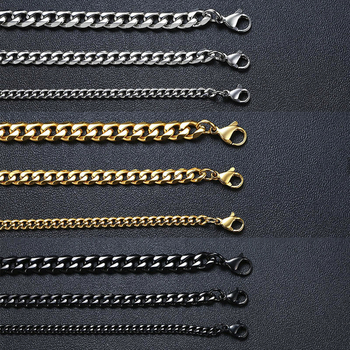 Vnox Men Simple 3-11mm Stainless Steel Cuban Link Chain Necklaces for Male Jewelry Solid Gold Black Tone Gifts Miami Curb Chain 3 11mm men s bracelets stainless steel curb cuban link chain silver color black gold bracelet men women jewelry gift 7 10 kbm03