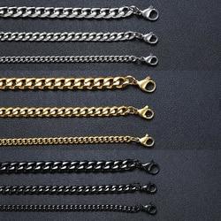 Vnox Solid Stainless Steel Bracelets for Men Women Black Gold Tone Metal Punk Casual Curb Cuban Link Chain Bracelets